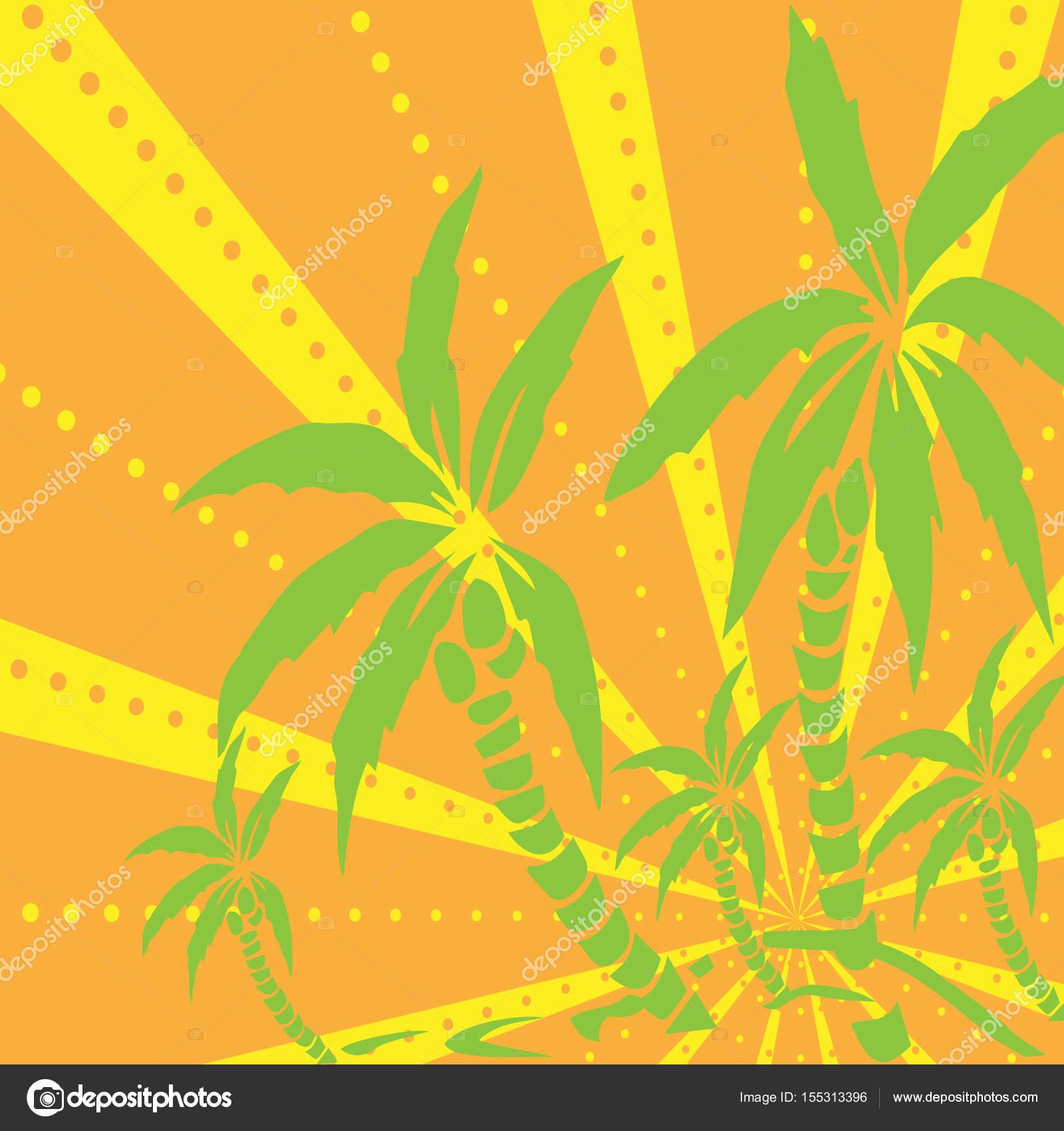 Palm Bäume auf der Insel Silhouette. Vektor-Illustration. Exotische ...