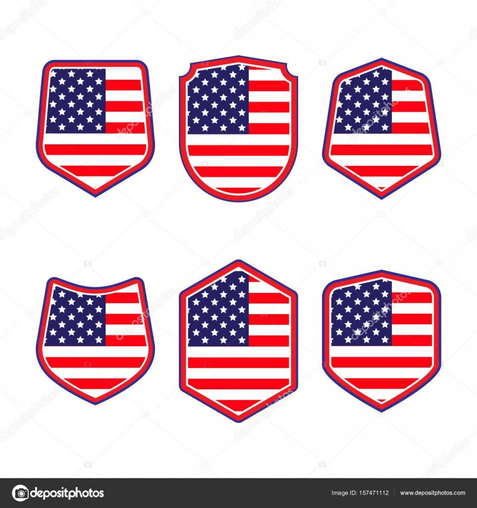 United states of america shield set of patriotic symbols red white set of patriotic symbols red white and blue shields buycottarizona Choice Image