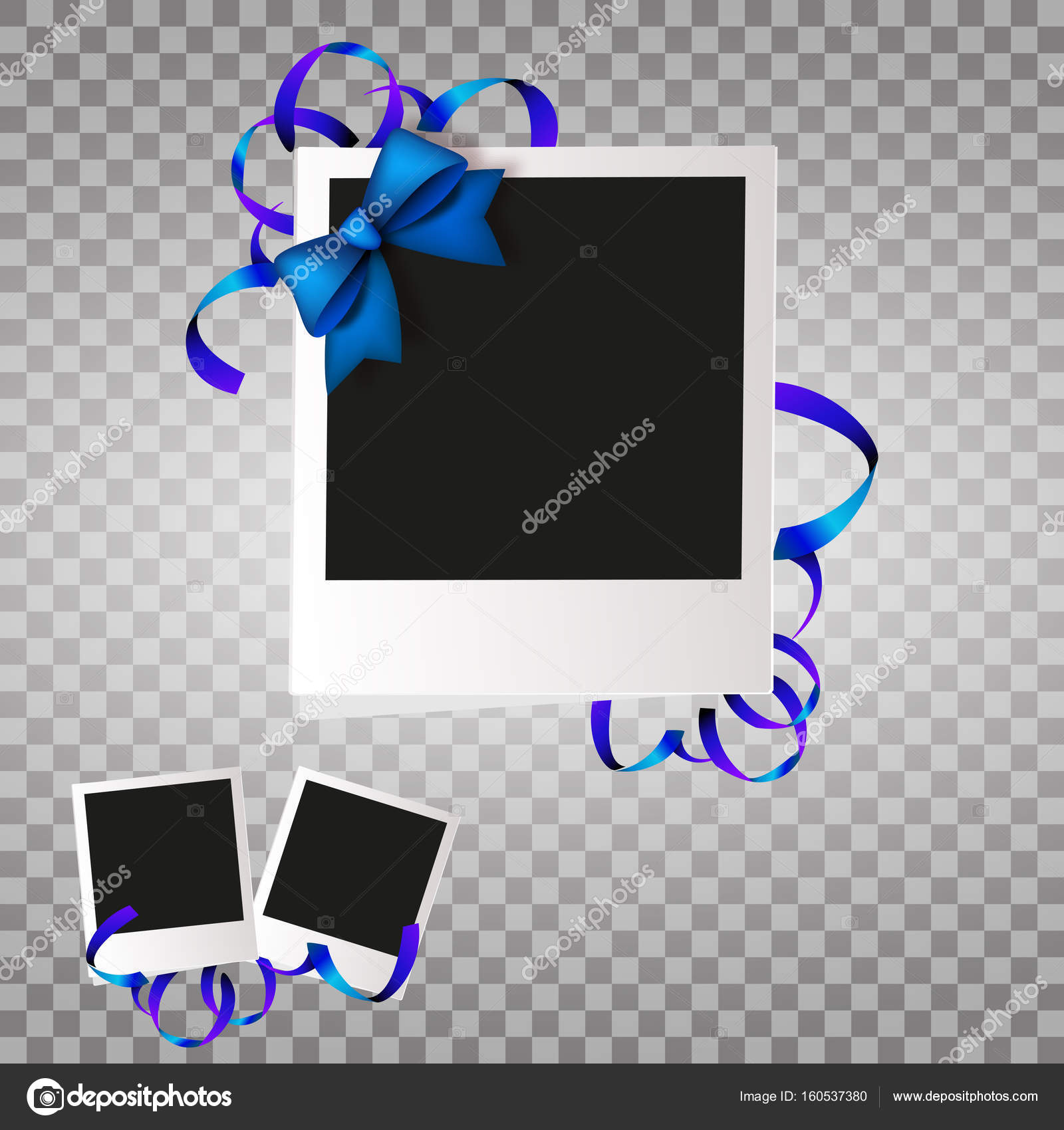 Fotorahmen mit blauen Bogen und Bändern. Weiße Kunststoff-Grenze auf ...