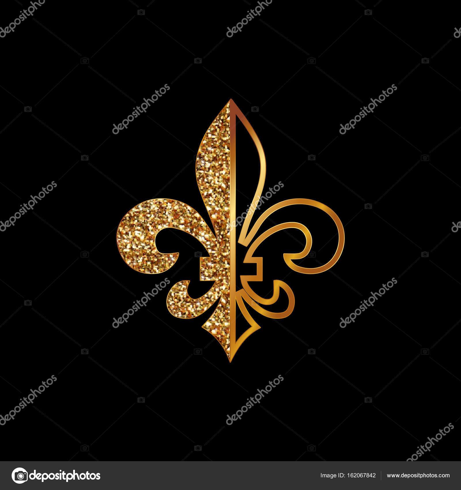 Fleur de lis symbols golden glittering silhouettes heraldic fleur de lis symbols golden glittering silhouettes heraldic symbols vector illustrationdieval biocorpaavc