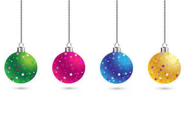 Christmas set of balls decoration background with stars. Happy New Year bauble traditional. Merry Xmas greeting card . Bright shiny decorative holiday design. Vector illustration