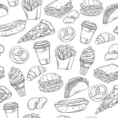 Fast Food decorative seamless pattern.