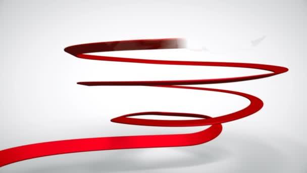 3D Animation der rote Seidenband Band bilden Form des Eies und Rechtschreibung Wort Ostern. Perfekte Grüße auf Hintergrund für Ostern.
