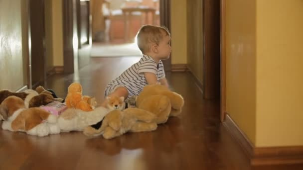 Cute 10 months old baby boy playing with plush toys on floor