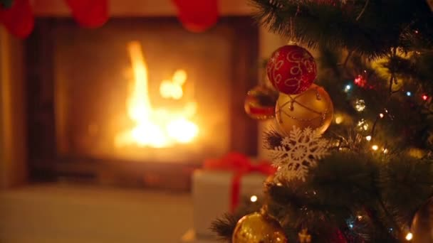 Background With Colorful Baubles On Christmas Tree Next To Burning  Fireplace At Living ...