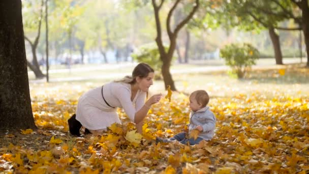 Slow motion footage of cute baby boy with young mother having fun at autumn park