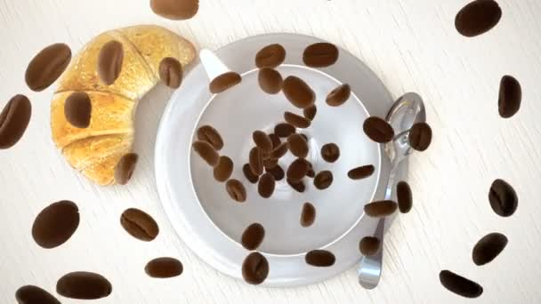 Slow motion záběry Cgi pražených kávových zrn náplň bílý šálek na stůl v kavárně