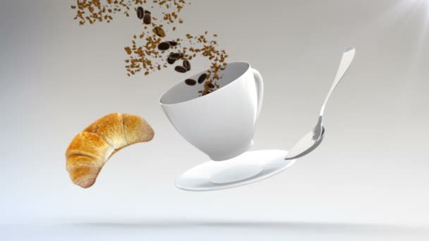3D CGI footage of flying croissant, spoon, plate and coffe cup. Cup being filled with roasted coffee beans flowing in spiral