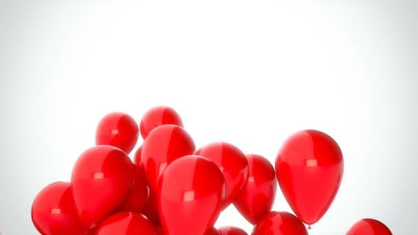 3D Cgi záběry z červené balóny létání nad bílým pozadím. Dokonalé animace pro svátky a oslavy