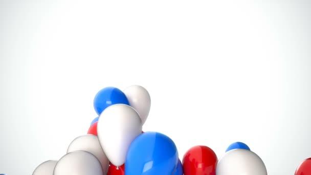 3D Cgi záběry z červené, bílé a modré balóny létání nad bílým pozadím. Dokonalé animace pro svátky a oslavy