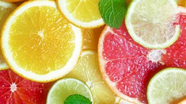 Zpomalené detailní záběry z máty na citrusové řezy