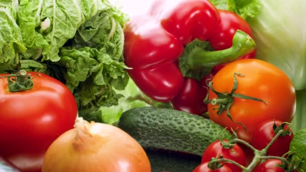 4k dolly video of cucumber. tomato. cabbage. lettuce. eggplant. carrot and bellpepper on white background. Concept of healthy nutrition and organic food. Perfect shot for vegetarian or vegan