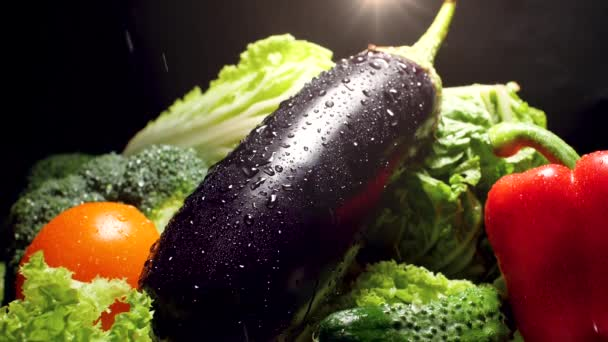 CLoseup slow motion video of water droplets falling on eggplant, lettuce leaves, tomatoes and bell pepper over black background. Concept of healthy nutrition and organic food. Perfect background for