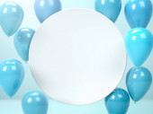 3d render fehér kerek üres lemez vagy fórumon és repülő kék léggömbök. Tökéletes absztrakt illusztráció a szöveg vagy a reklám elhelyezéséhez. Másold a helyet. Keret az SMS-hez