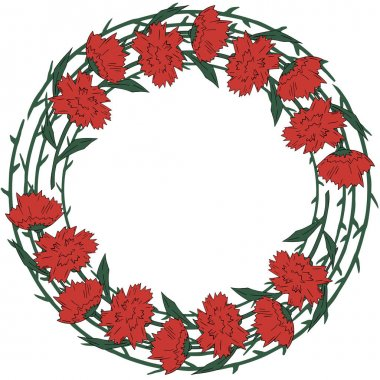 Holiday flowers wreath red with green carnation on white background. Vector. Victory Day. 9TH May.
