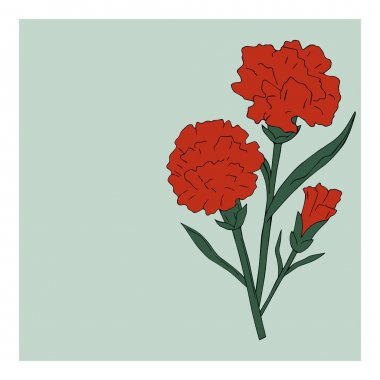 Holiday card flowers red with green carnation on green background. Vector. Victory Day. 9TH May.