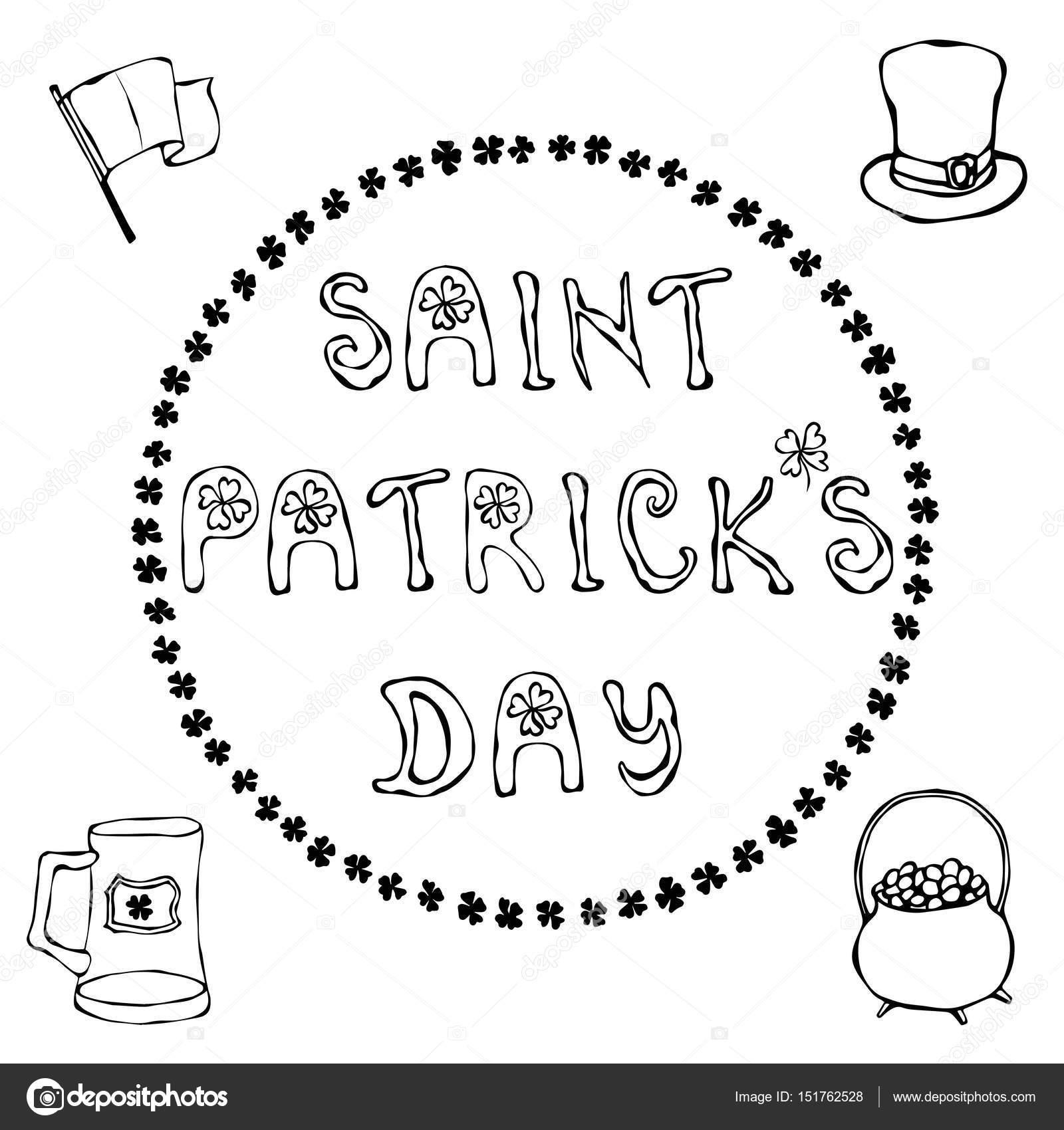 Feliz día de San Patricio. Mano dibujada Day del St. Patricks Letras ...
