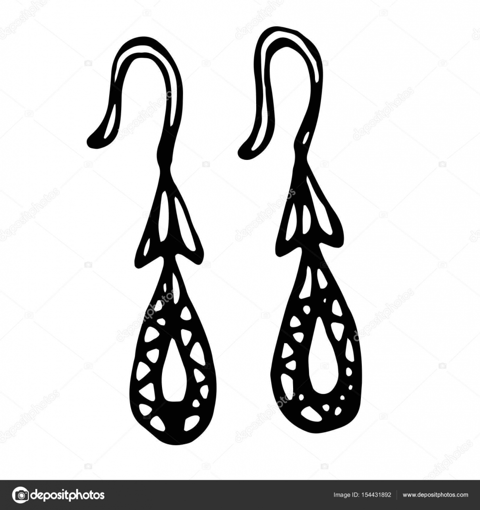 Gold Jewellery Earrings With Gemstones Isolated On A White Background Doodle Cartoon Vintage Hand Drawn Sketch Stock Vector C Leen Savoyar Com 154431892