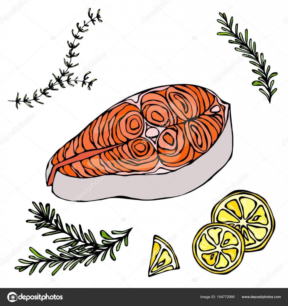 Imágenes Carne De Pescado Dibujo Carne Roja Pescado Salmón Limón