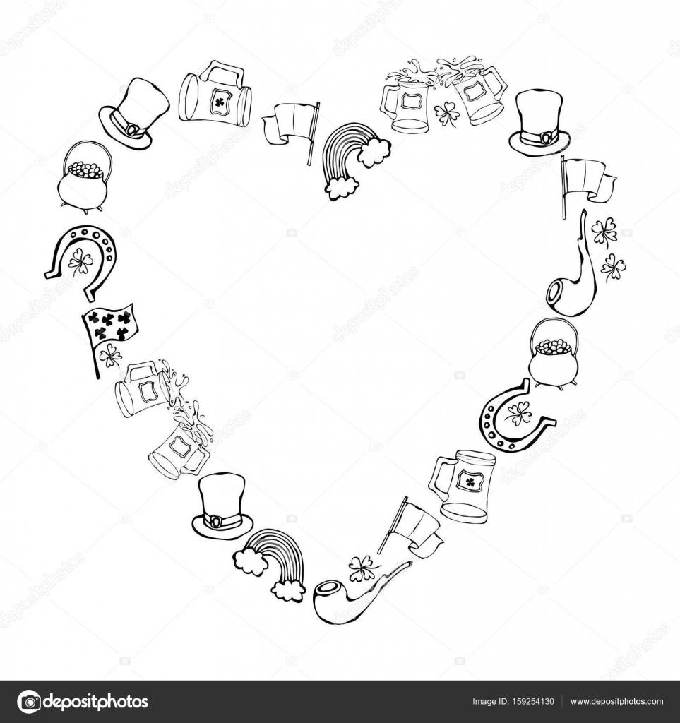 Colección de símbolos irlandeses. Fondo de forma de corazón ...