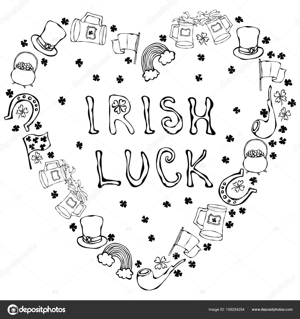Collection Of Irish Symbols Irish Luck Lettering Heart Shape