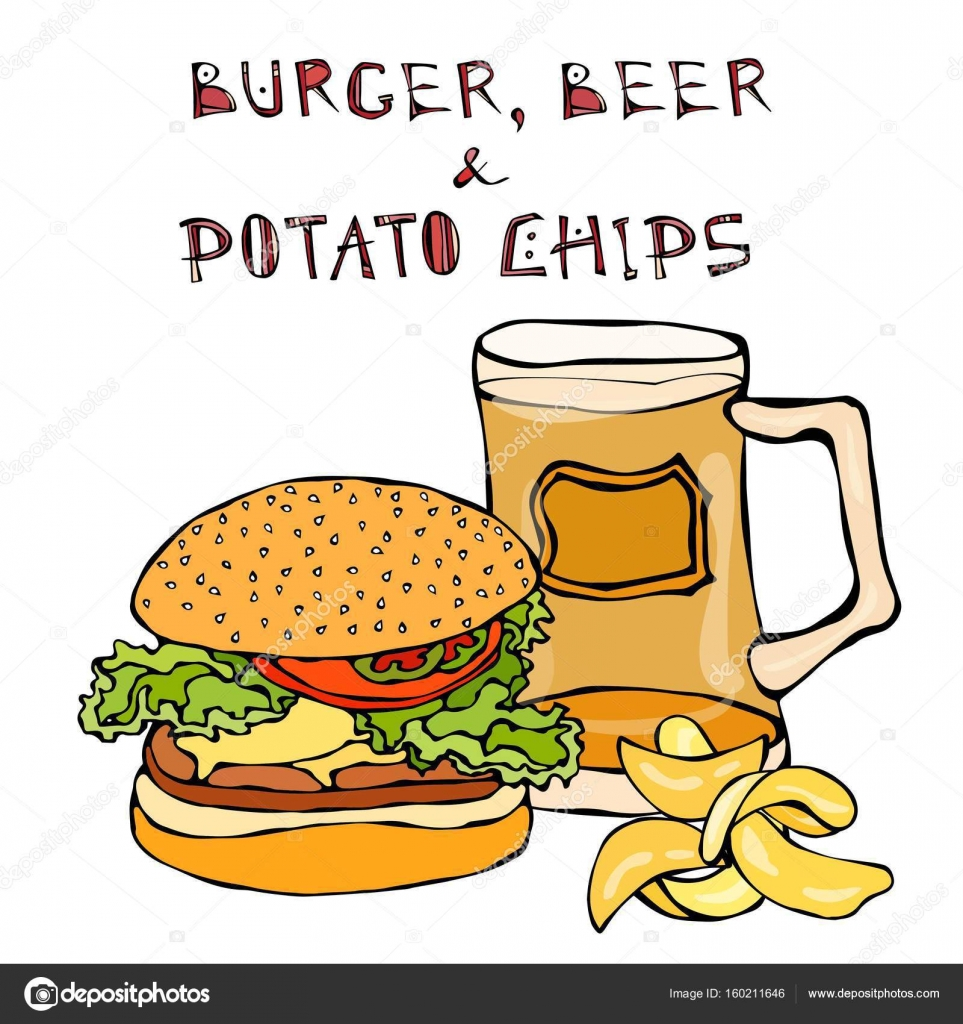 Big Hamburger Or Cheeseburger Beer Mug Or Pint And Potato Chips Burger Logo Isolated On A White Background Realistic Doodle Cartoon Style Hand Drawn Sketch Vector Illustration Stock Vector C Leen Savoyar Com