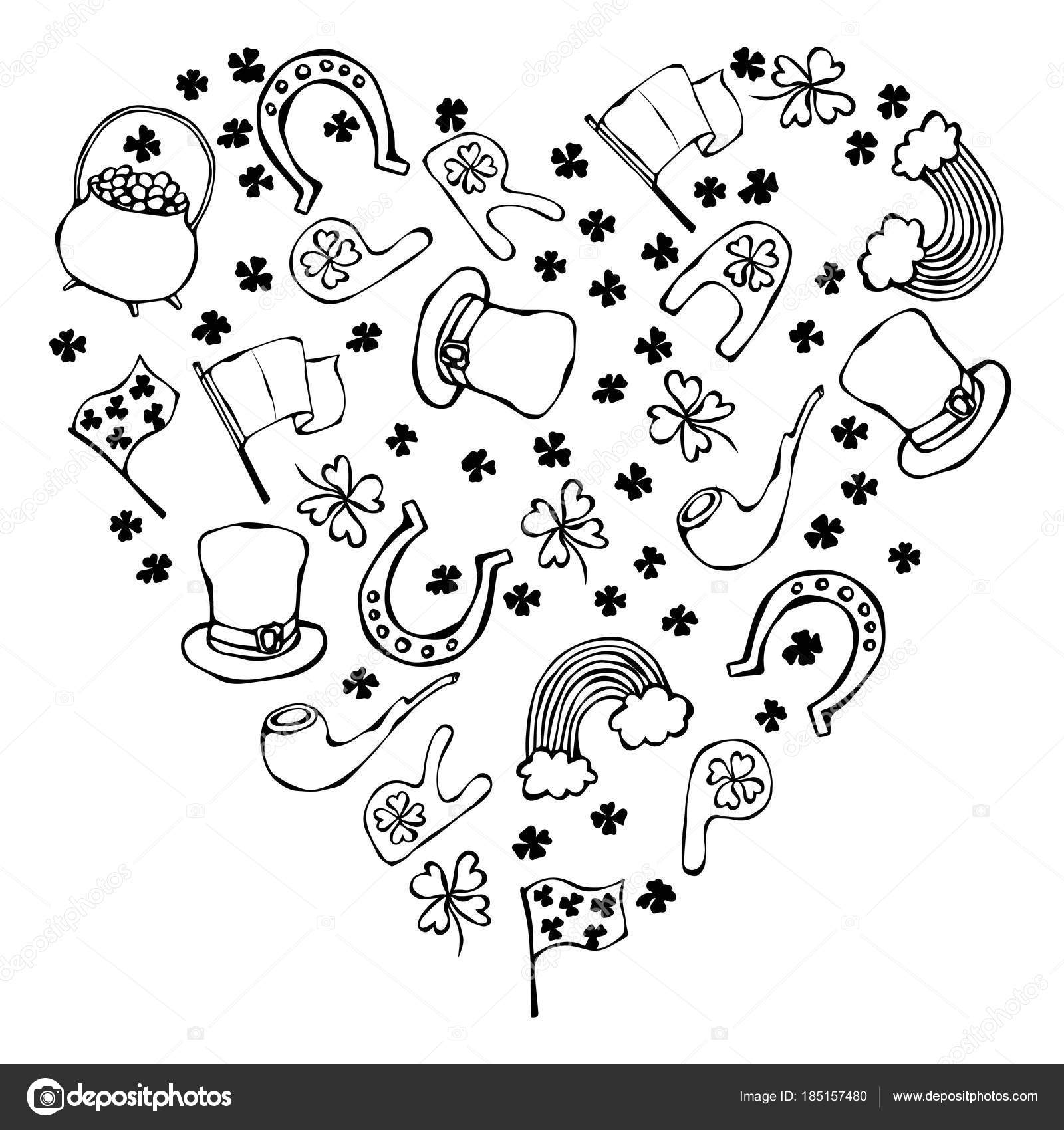 Collection Of Irish Symbols Heart Shape Background Leprechauns Hat Horseshoe Pot Of Gold Flag Beer Mug Rainbow Clover St Patrick Day Savoyar Doodle Style Stock Photo C Leen Savoyar Com 185157480