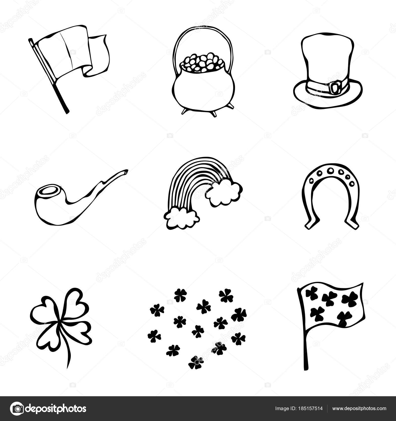 Collection Of Irish Symbols Leprechauns Hat Horseshoe Pot Of Gold Flag Beer Mug Rainbow Clover St Patrick Day Savoyar Doodle Style Stock Photo C Leen Savoyar Com 185157514