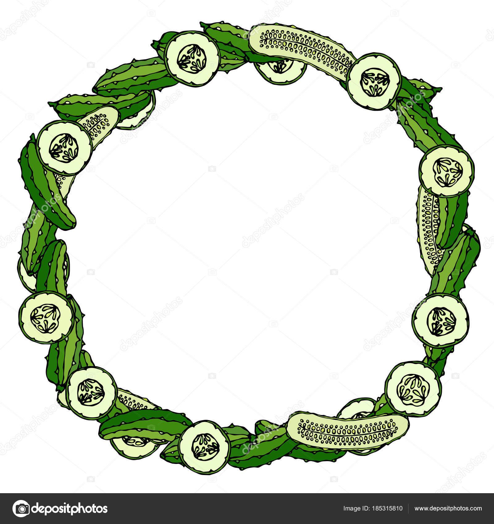 Corona o marco redondo con verdes pepinos o pepinillos, rodajas de ...