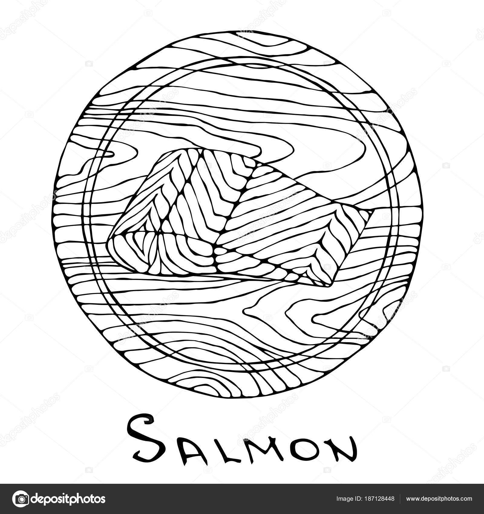 Ojos Redondos Para Recortar Filete De Pescado Crudo Salmón En