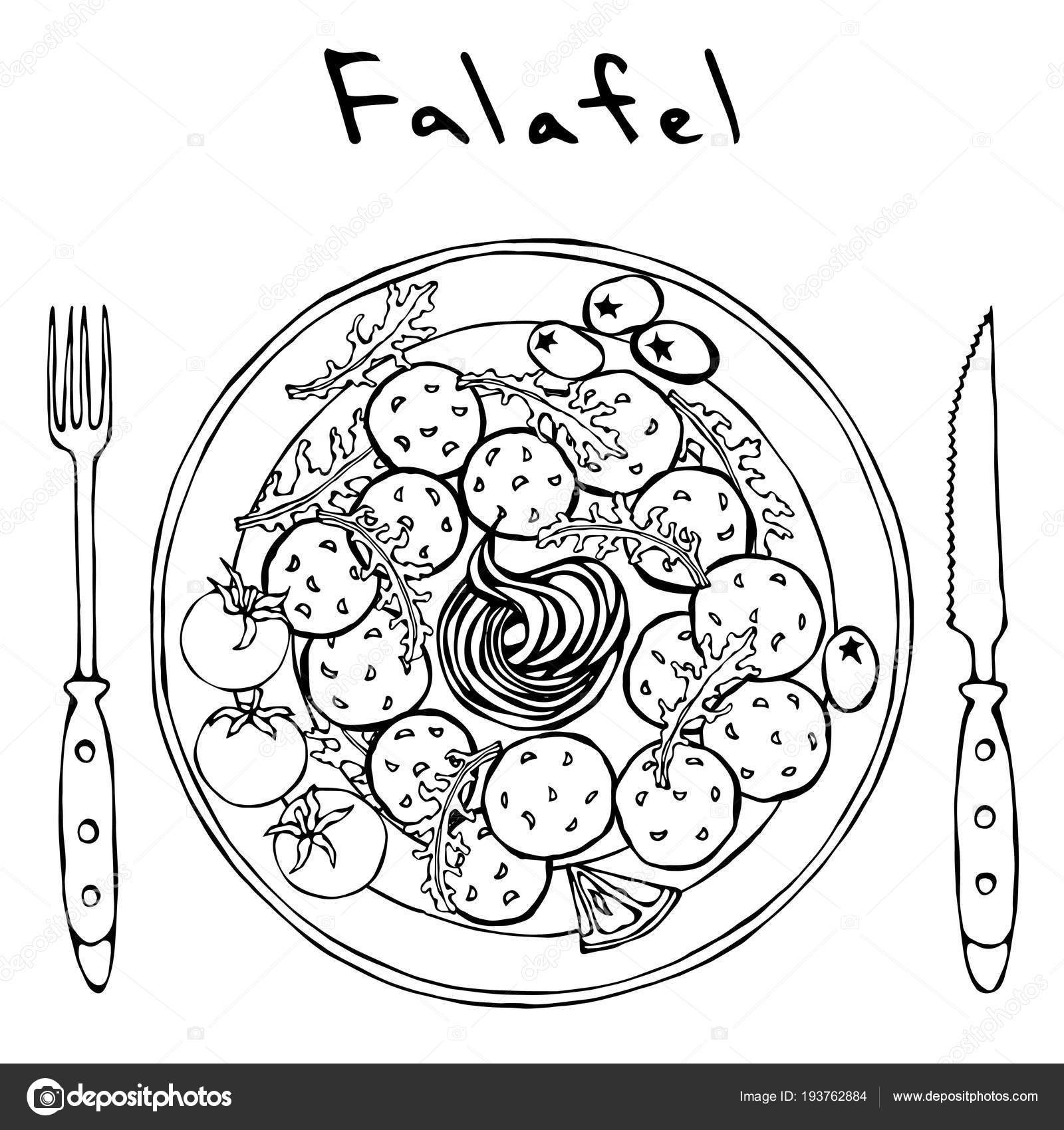 Plato De Comida Sana Para Colorear Falafel Hojas De