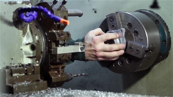 Operator Working On The Industrial Lathe