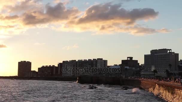 Tramonto sulla costa di Montevideo, Uruguay