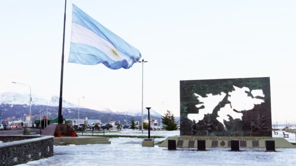 Monument and Argentine flag in Ushuaia, Argentina