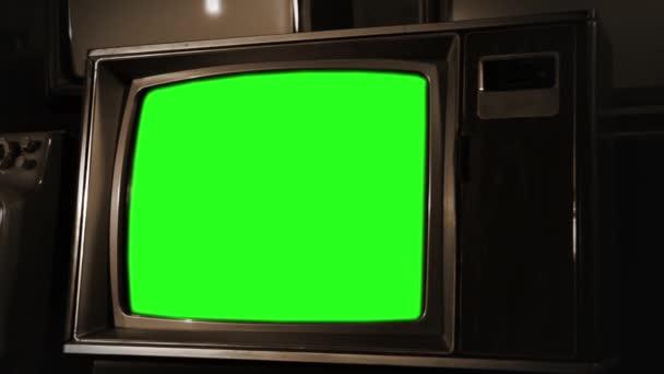 Vintage zöld képernyő Tv, kész zöld képernyő minden felvétel vagy kép ön akar. Meg tudod csinálni a beírása.
