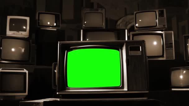 Vintage Tv zöld képernyő. Tintahal szemcsésedik. Kész arra, hogy cserélje ki a zöld képernyő felvétel vagy képet szeretne.
