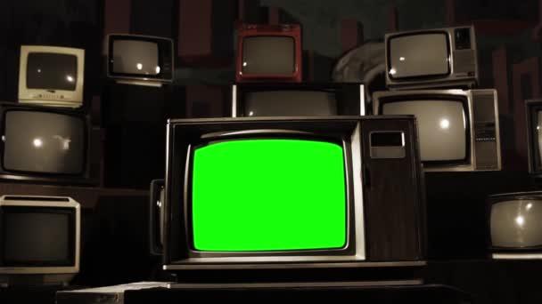 Vintage Tv zöld képernyő. Lövés változások évjárat szépia szín.