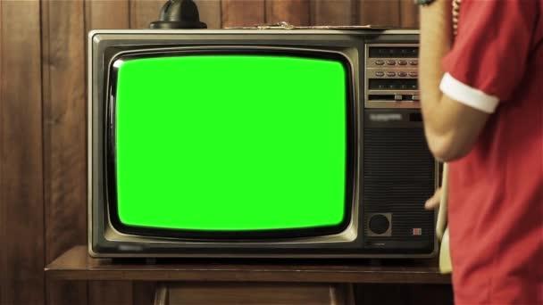 80s televize se zeleným plátnem. Chcete vyměnit fabion se záběry nebo obrázek