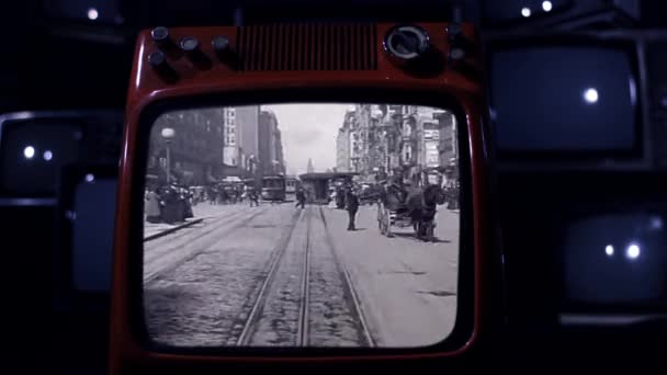 A Trip Down Market Street, in San Francisco, On a Retro TV. San Francisco in early April 1906, 4 Days Before the Great Earthquake. Public Domain Footage.