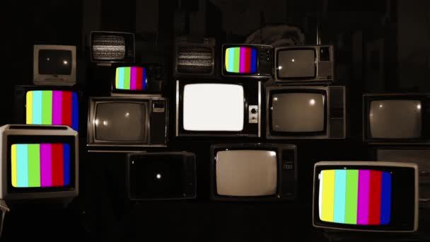 Színes rácsok a retro televíziókban. Multi képernyő. Szepia Tone.