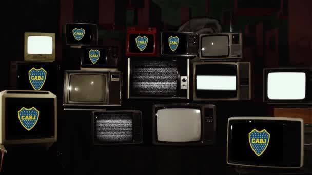 Boca Juniors Schild auf Retro-Fernsehern.