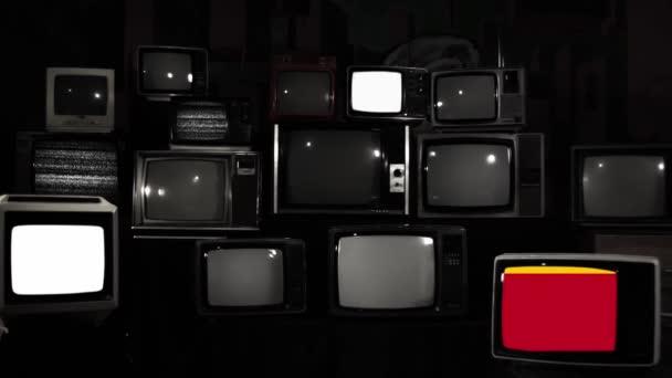 Retro TV és a spanyol zászló. Fekete-fehér Tone. Közelíts rá!.