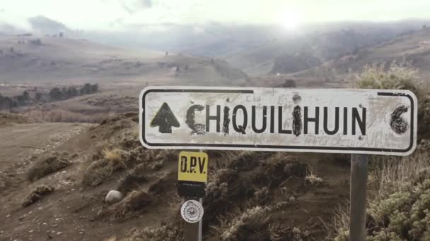 Road Sign in a Dirt Road in Neuquen province, Patagonia Argentina, South America. Zoom In.