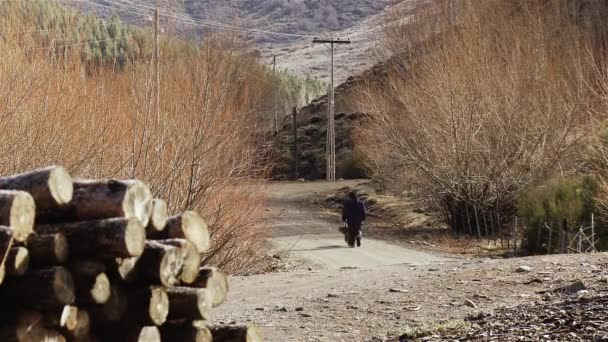 Man Walking with a Wheelbarrow in a Dirt Road in the Mountains, near a Pile of Wood.
