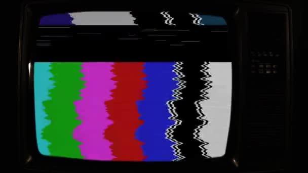 Régi retro televízió színes bárokkal.
