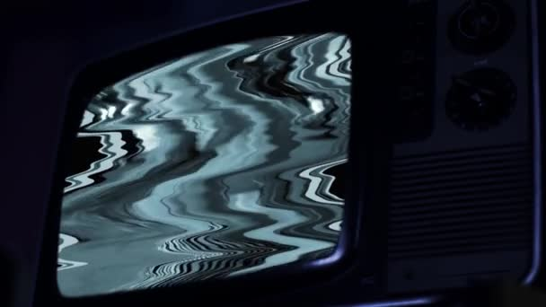 Régi retro TV színes rácsokkal. Kék Sötét Tone.