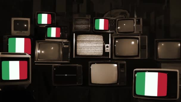 Italy Flags on Vintage Televisions. Sepia Tone. Zoom In.