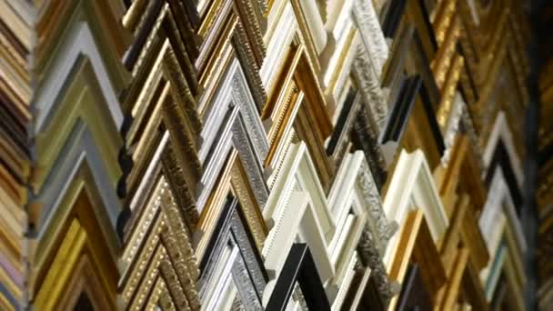 Framing Workshop. Showcase with corners of frames for baguette. Frames catalog