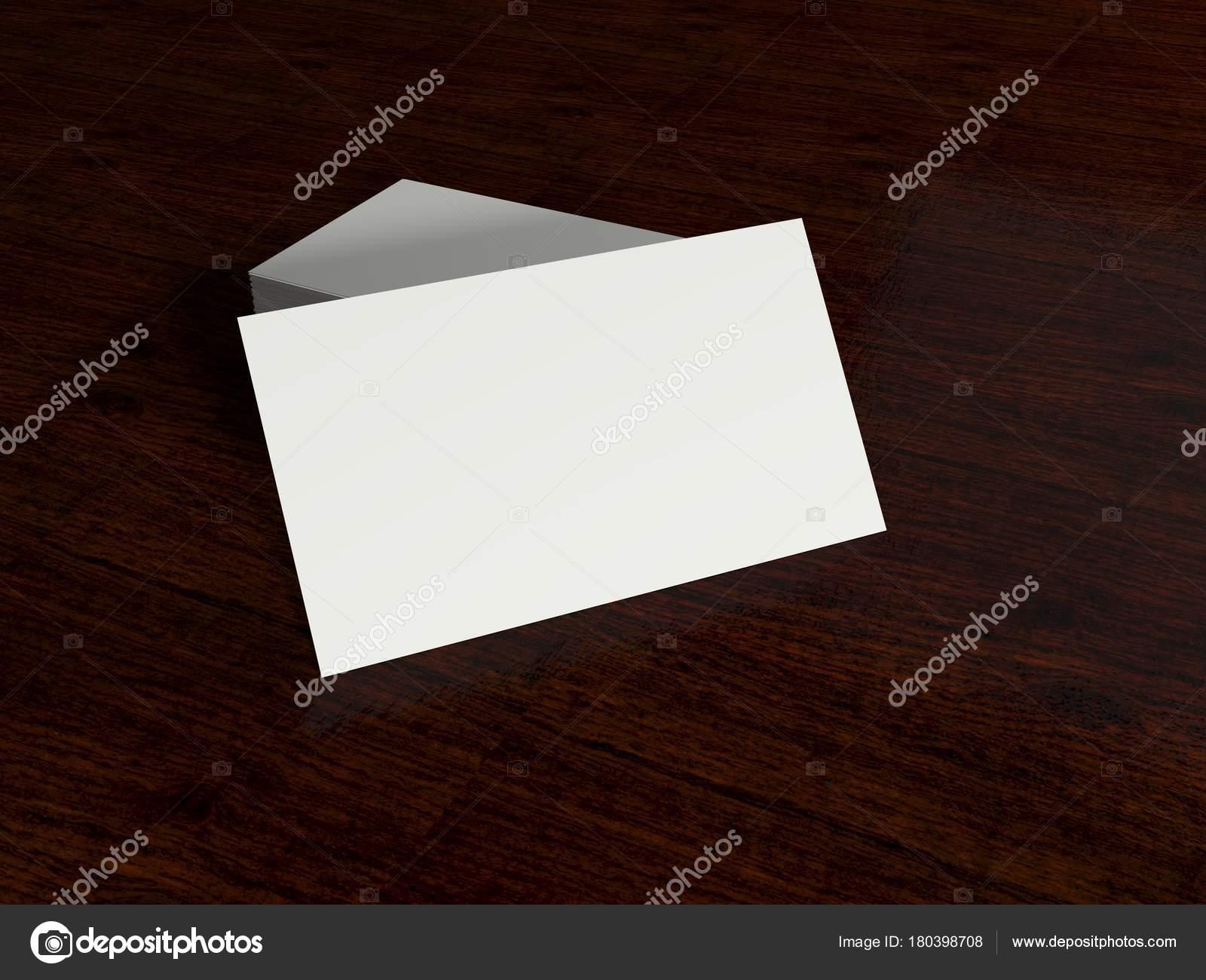 Carte De Visite Vide Blanc Sur Un Bureau Modle 3d Render Haute Rsolution Image Lokki61099