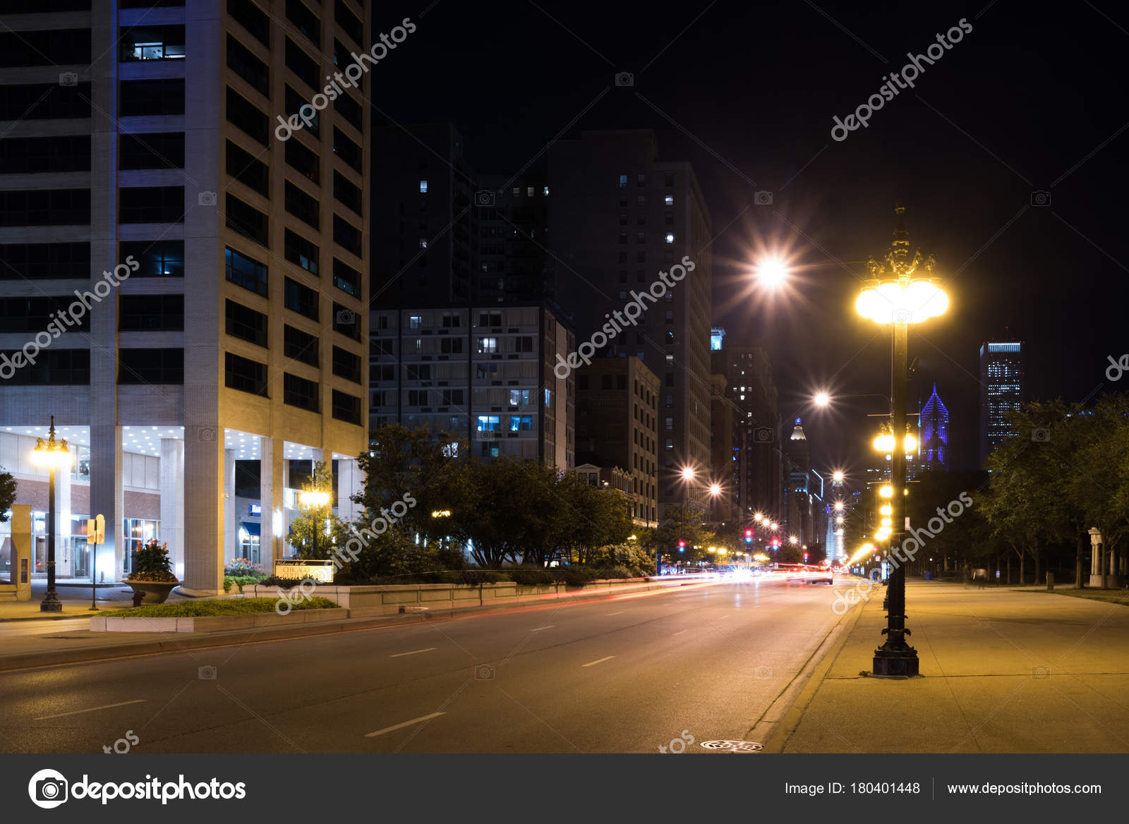 lights of summer night chicago downtown streets stock photo